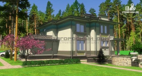 Фото 6: проект дом с террасой-барбекю и гаражом