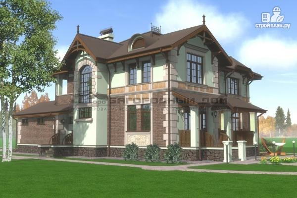 Фото 5: проект дом из газосиликатных блоков с балконом, террасой и гаражом