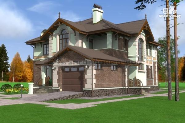 Фото 4: проект дом из газосиликатных блоков с балконом, террасой и гаражом