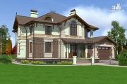 Фото: дом из газосиликатных блоков с балконом, террасой и гаражом
