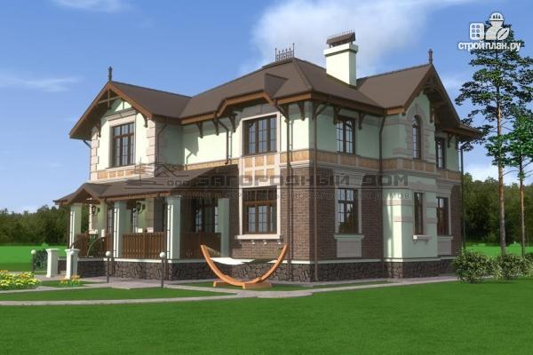 Фото 6: проект дом из газосиликатных блоков с балконом, террасой и гаражом