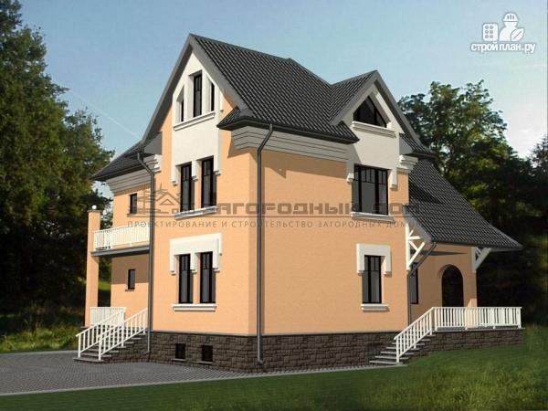 Фото: проект каменный загородный дом с балконом и террасой