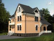 Проект каменный загородный дом с балконом и террасой