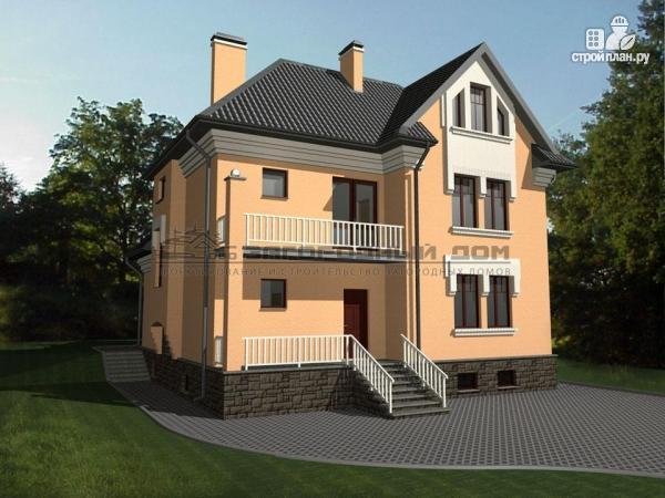 Фото 5: проект каменный загородный дом с балконом и террасой