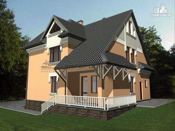 Фото 6: проект каменный загородный дом с балконом и террасой
