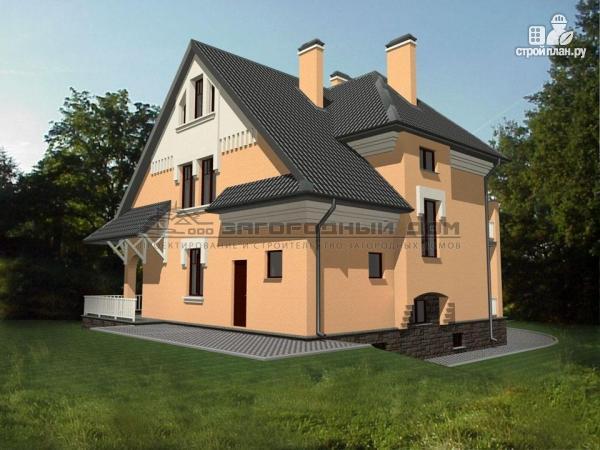 Фото 7: проект каменный загородный дом с балконом и террасой
