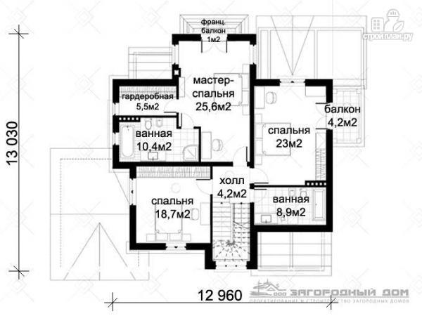 Фото 3: проект дом с балконом, террасой и гаражом
