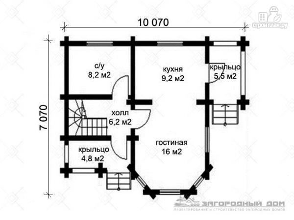 Фото 2: проект бревенчатый дом 7х10 с крыльцом