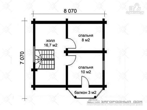 Фото 3: проект бревенчатый дом 7х10 с крыльцом