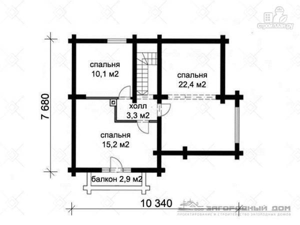 Фото 3: проект дом из оцилиндрованного бревна с навесом для машины