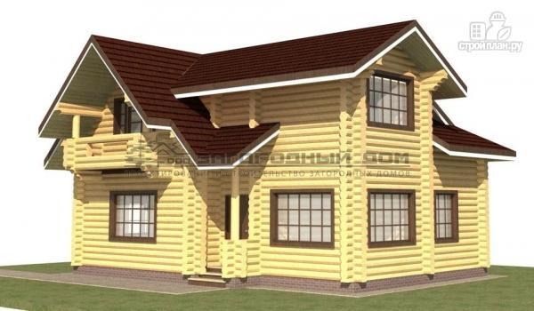 Фото: проект дом из оцилиндрованного бревна с навесом для машины