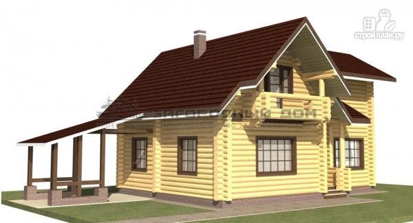 Фото 5: проект дом из оцилиндрованного бревна с навесом для машины