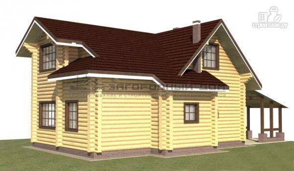 Фото 4: проект дом из оцилиндрованного бревна с навесом для машины