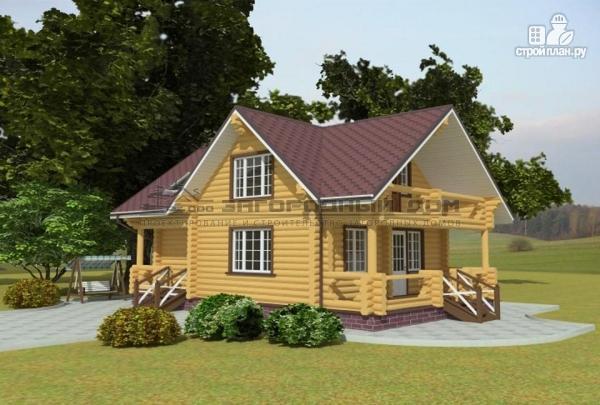 Фото: проект дом из оцилиндрованного бревна с балконом и террасой