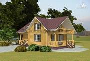 Фото: дом из оцилиндрованного бревна с балконом и террасой