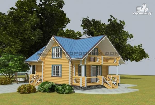 Фото 4: проект дом из оцилиндрованного бревна с балконом и террасой