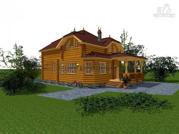Фото 4: проект бревенчатый дом с полувальмовой крышей для дружной семьи