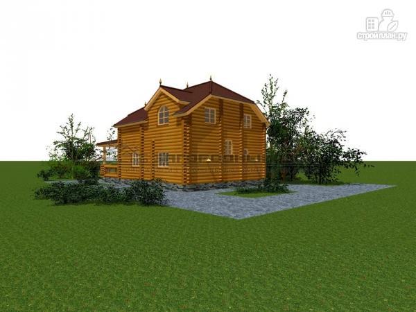 Фото 7: проект бревенчатый дом с полувальмовой крышей для дружной семьи