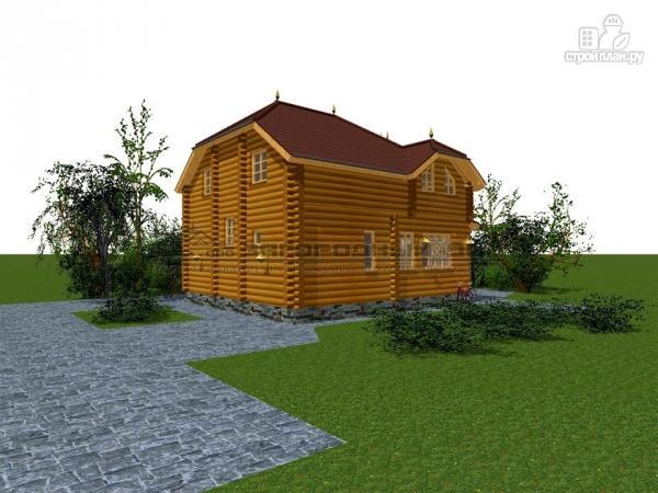 Фото 8: проект бревенчатый дом с полувальмовой крышей для дружной семьи