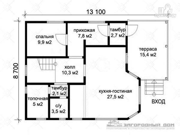 Фото 2: проект бревенчатый дом с полувальмовой крышей для дружной семьи