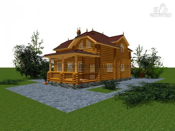 Фото 5: проект бревенчатый дом с полувальмовой крышей для дружной семьи