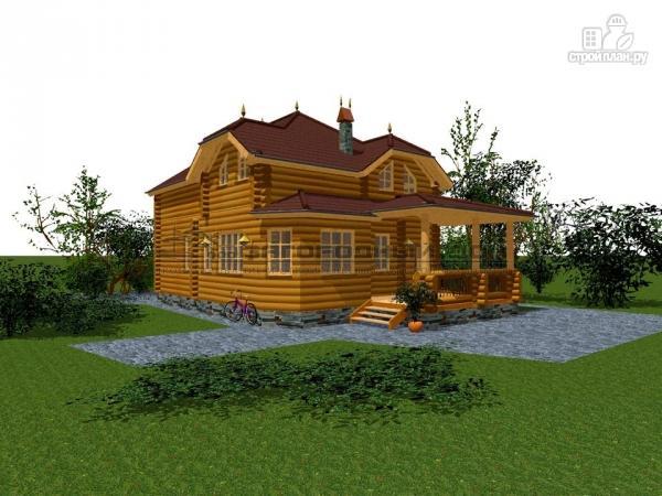 Фото 6: проект бревенчатый дом с полувальмовой крышей для дружной семьи