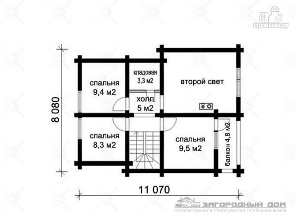 Фото 3: проект деревянный дом с балконом, террасой, вторым светом и навесом для машины