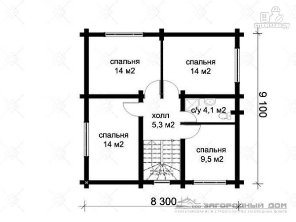 Фото 3: проект дом из оцилиндрованного бревна с большой террасой