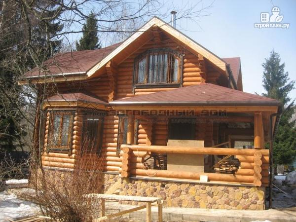 Фото 7: проект дом из оцилиндрованного бревна с большой террасой