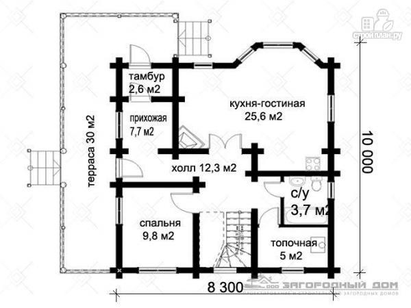 Фото 2: проект дом из оцилиндрованного бревна с большой террасой