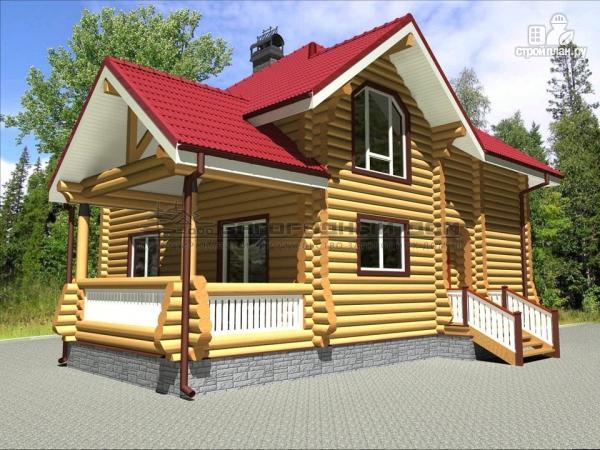 Фото 6: проект бревенчатый дом с террасой