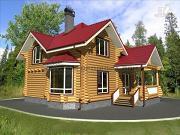 Проект бревенчатый дом с террасой