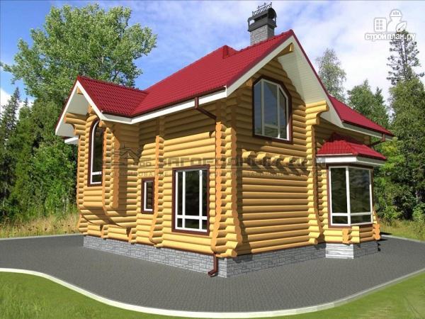 Фото 5: проект бревенчатый дом с террасой