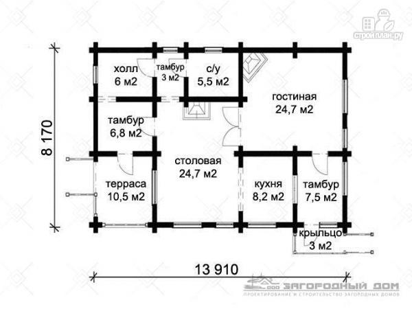 Фото 2: проект бревенчатый дом с камином и печью