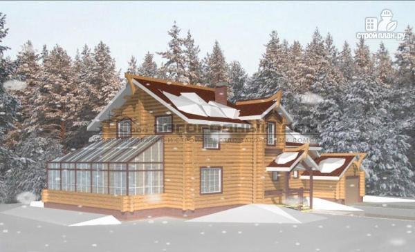 Фото 4: проект дом из оцилиндрованного бревна с зимним садом