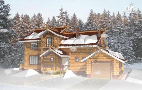 Фото 5: проект дом из оцилиндрованного бревна с зимним садом
