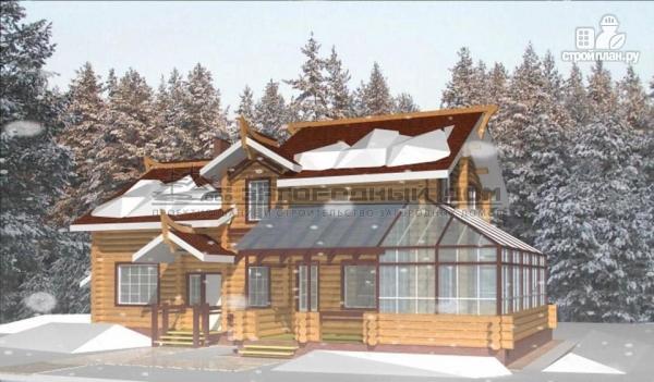 Фото: проект дом из оцилиндрованного бревна с зимним садом