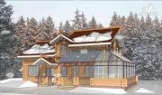 Фото: дом из оцилиндрованного бревна с зимним садом