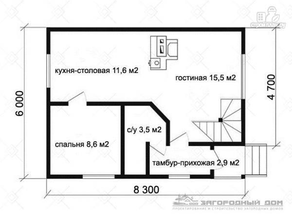 Фото 2: проект деревянный дом с гостиной в два света и камином-печью
