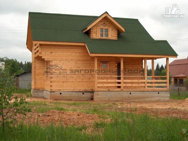 Фото 5: проект брусовой дом с эркером и террасой с навесом