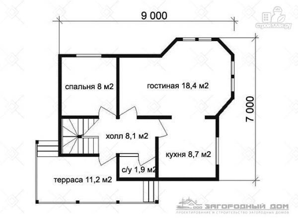 Фото 2: проект брусовой дом с эркером и террасой с навесом