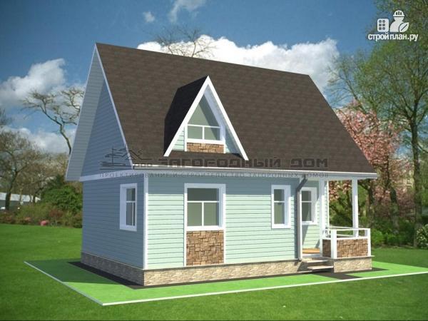 Фото 4: проект дом из бруса с мансардным этажом и небольшой террасой