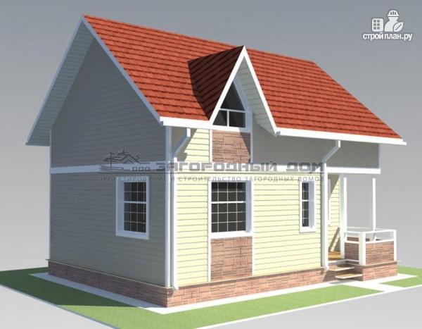 Фото 6: проект дом из бруса с мансардным этажом и небольшой террасой