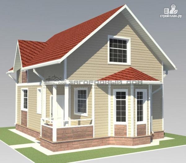 Фото 9: проект дом из бруса с мансардным этажом и небольшой террасой