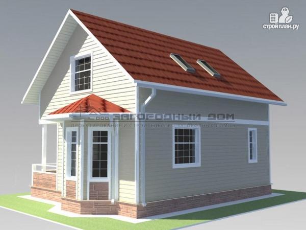 Фото 8: проект дом из бруса с мансардным этажом и небольшой террасой