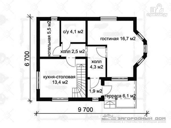 Фото 2: проект дом из бруса с мансардным этажом и небольшой террасой
