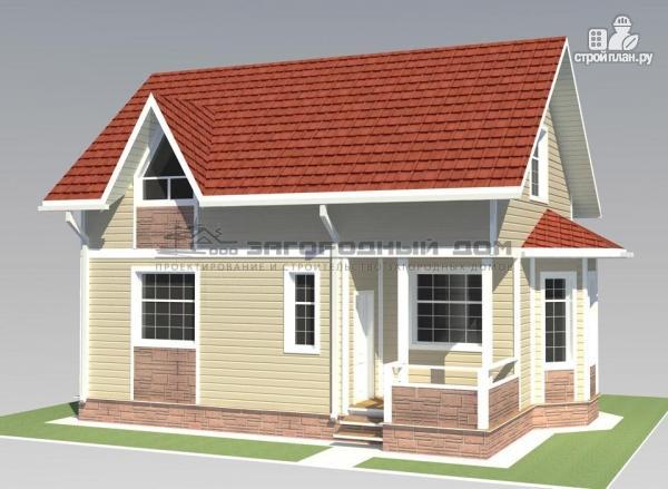 Фото 7: проект дом из бруса с мансардным этажом и небольшой террасой