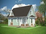 Фото: дом из бруса с мансардным этажом и небольшой террасой