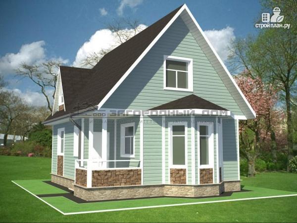 Фото 5: проект дом из бруса с мансардным этажом и небольшой террасой