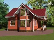 Фото: деревянный дом с эркером, террасой и балконом